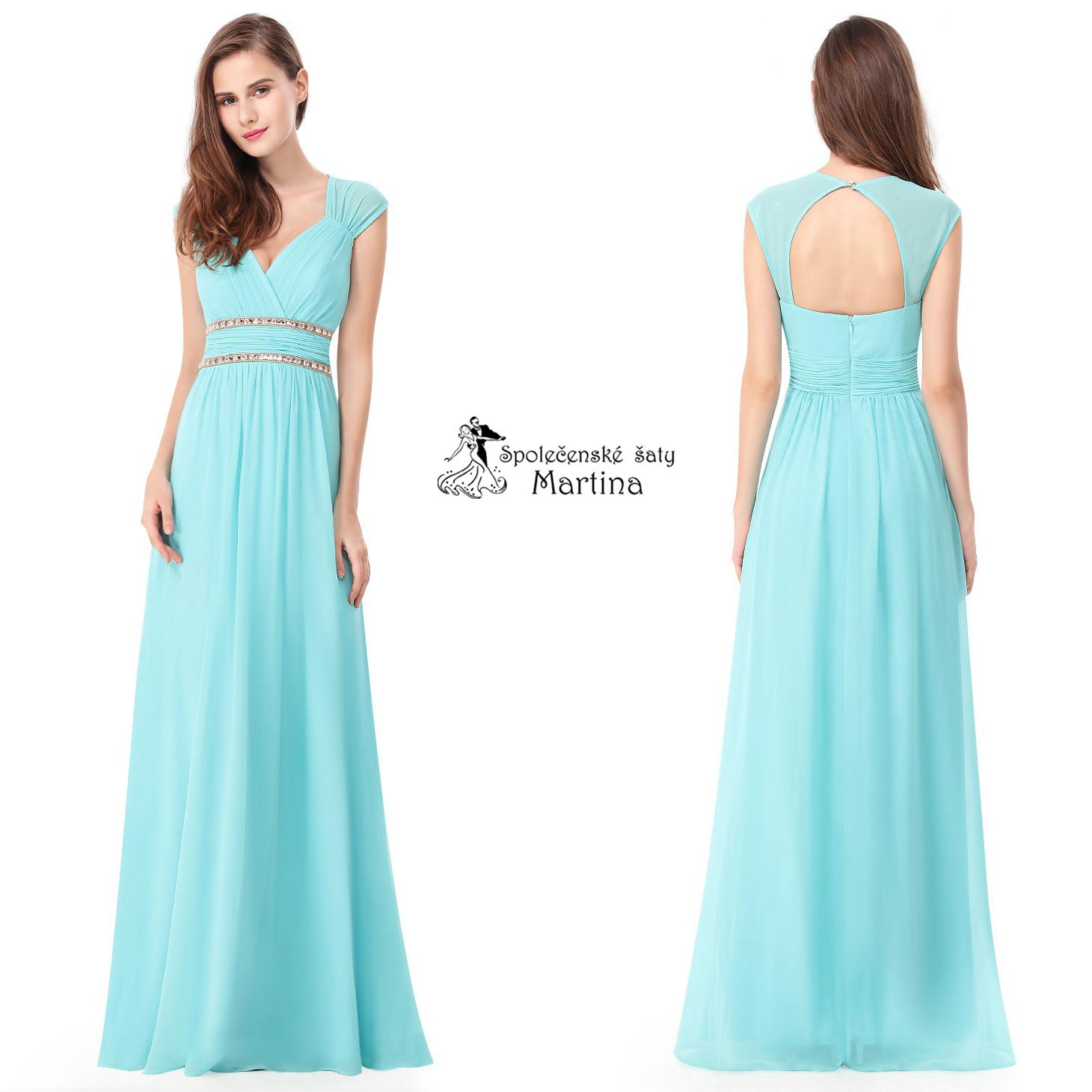 4df7b1a32f1e Azurové šaty antického střihu Ever Pretty EP08697AQ