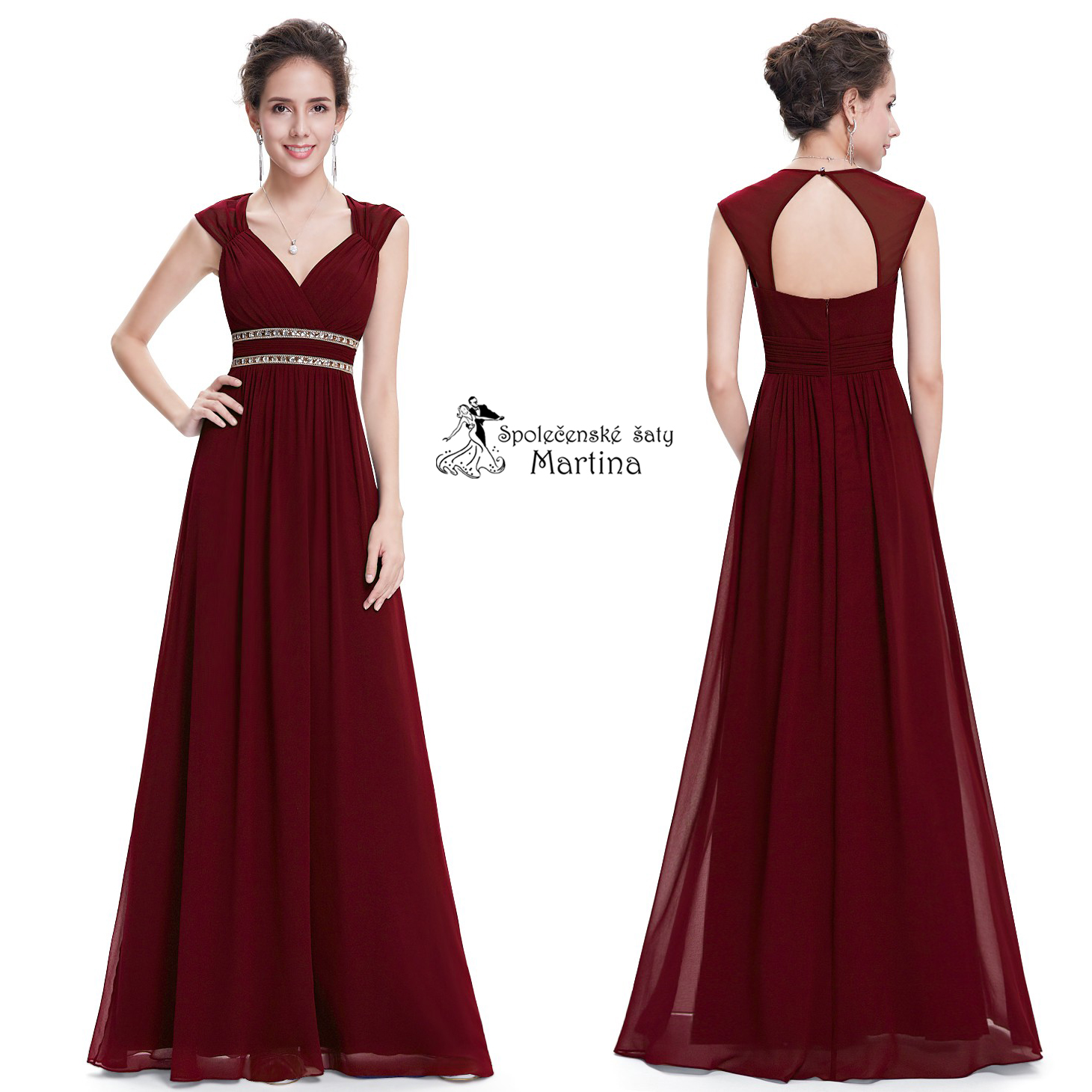 e2336ece0767 Vínové společenské šaty antického střihu Ever Pretty EP08697BD