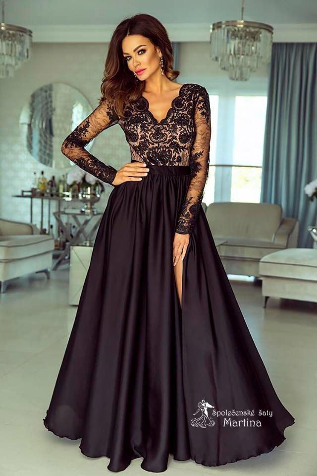 cc81f3309d5a Dlouhé černo-béžové společenské šaty Lisa s krajkovými rukávy skladem