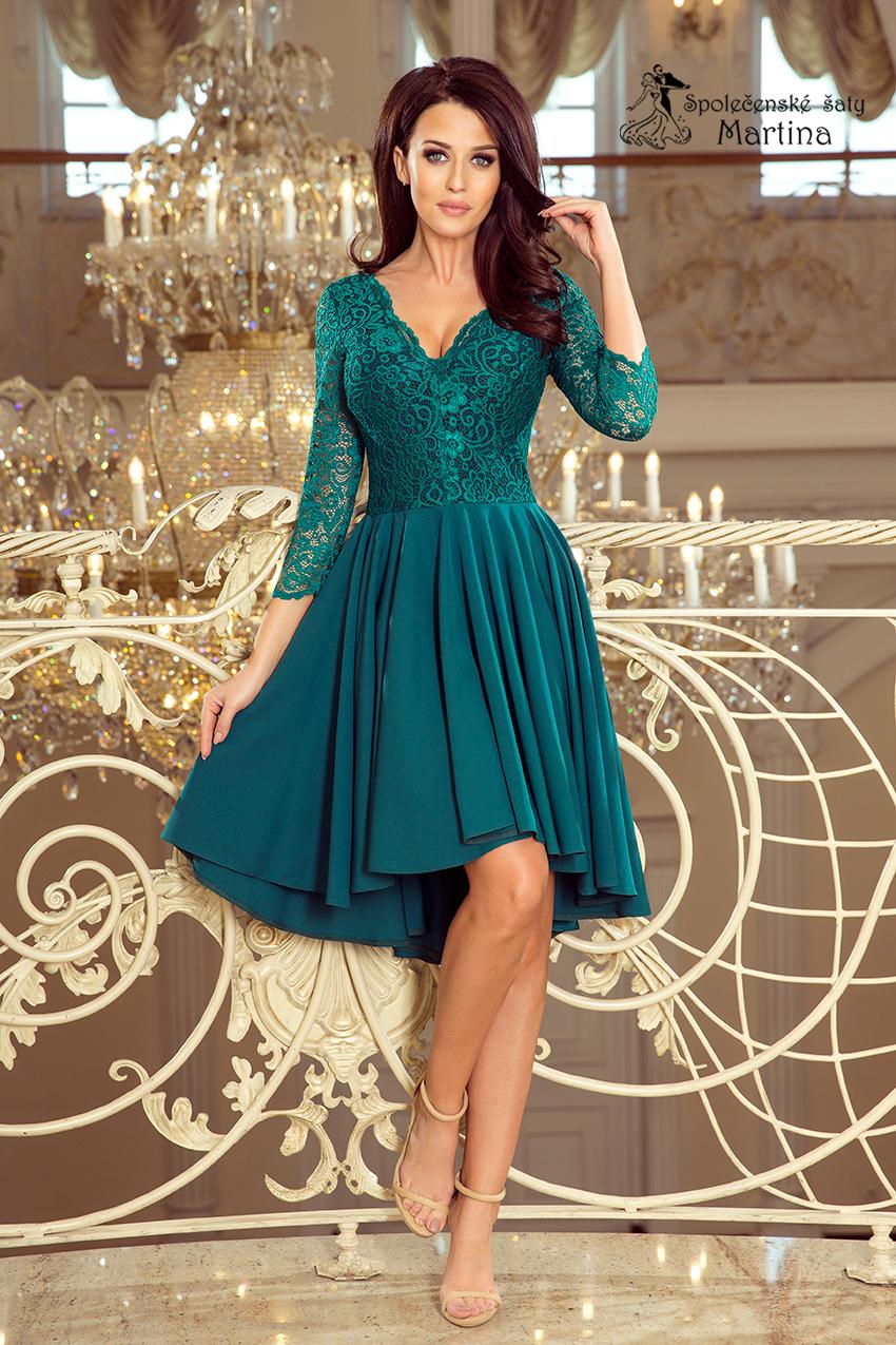 d60697bc2d6b Asymetrické šaty s krajkou a 3 4 rukávy