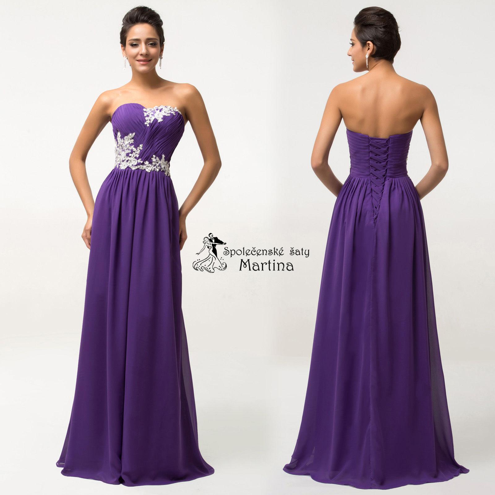 370da118c Fialové společenské šaty antického střihu