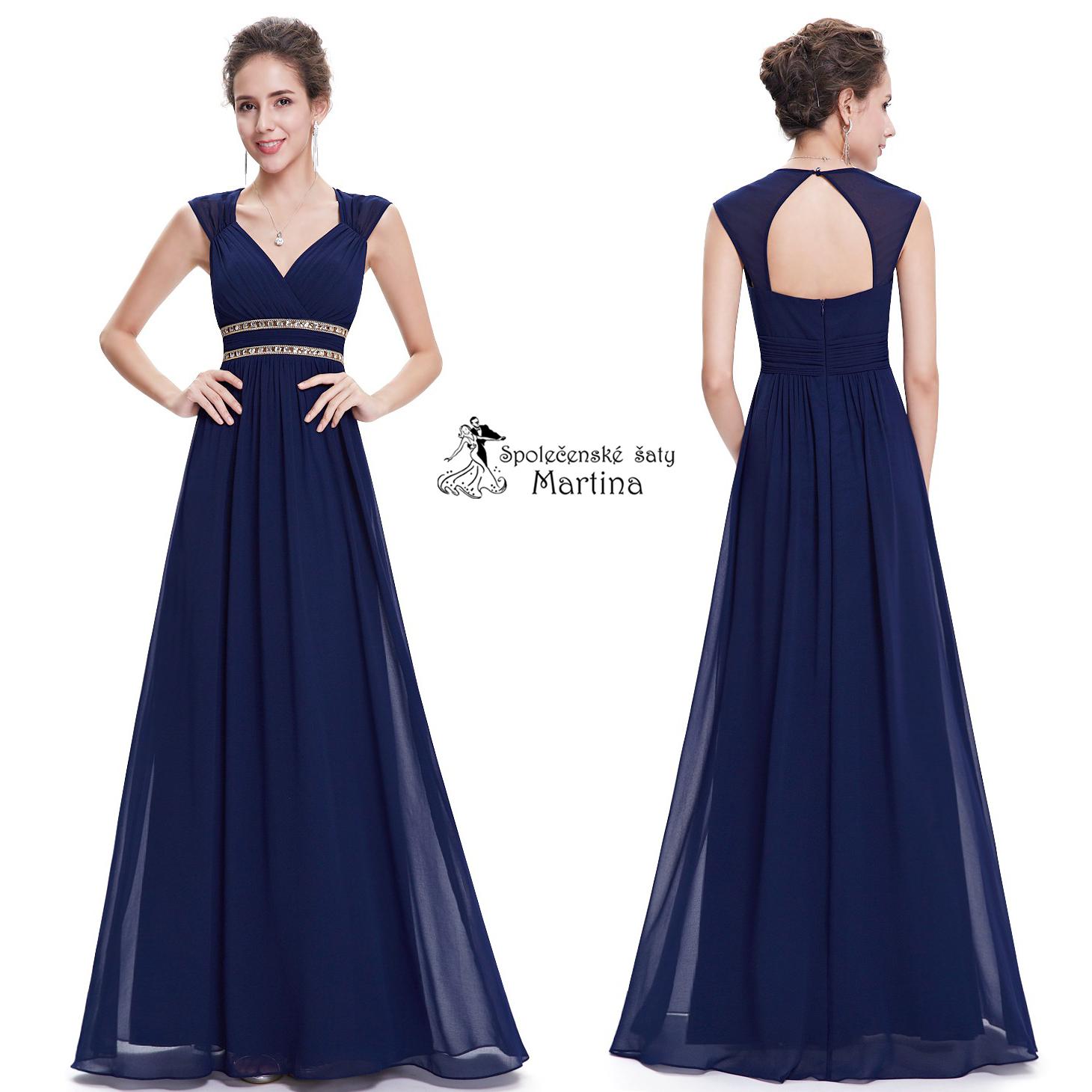 15a229f44786 Tmavě modré společenské šaty antického střihu Ever Pretty EP08697NB