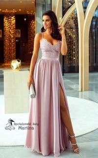 ca5e06300999 Pudrové společenské šaty