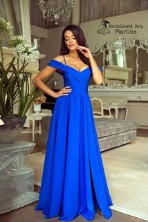 c83cfba54c54 Společenské šaty v barvě královská modř se spadenými ramínky